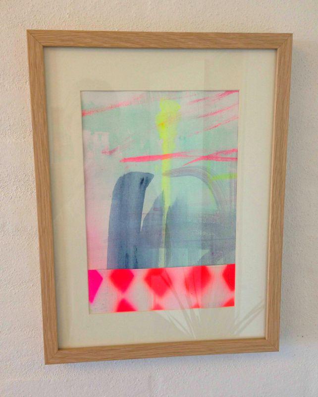 Moderne Malerier af løs malelærred - sat i glas og ramme JX-98
