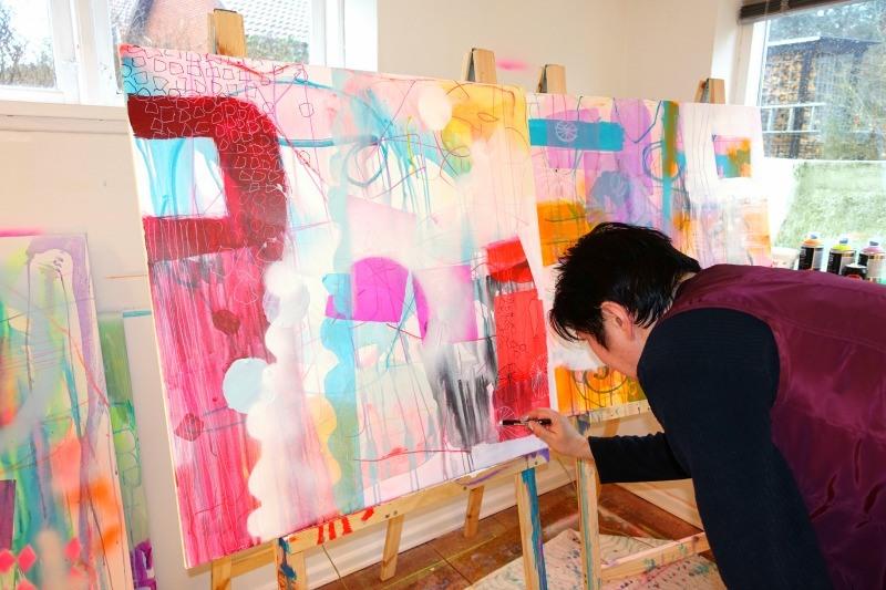 Elev til privatundervisning i maleri hos kunstner Mette lindberg