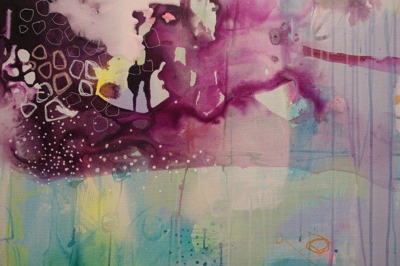 Brudstykke af farvrigt maleri