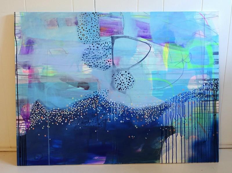 abstrakt maleri i blå nuancer