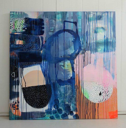 Farverigt maleri i blå nuancer