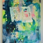 abstrakt maleri med blå og grøn