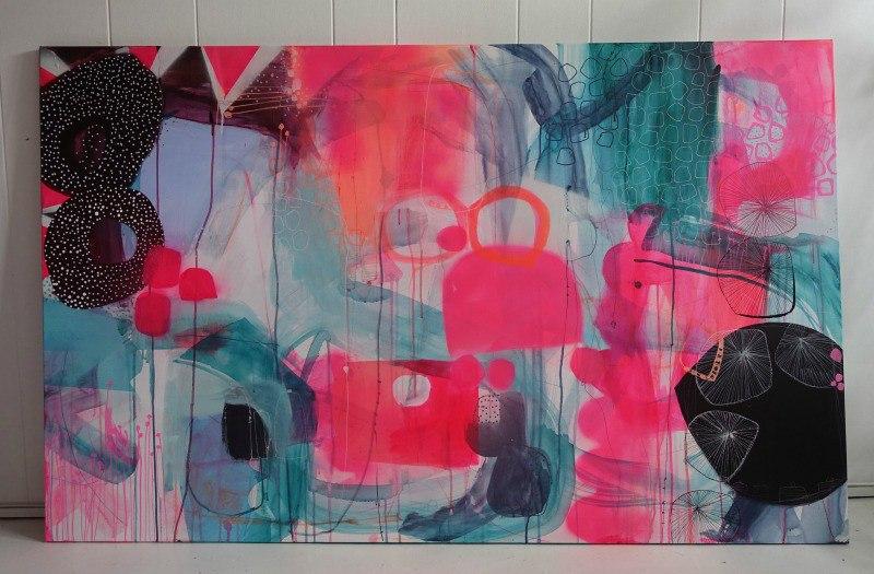 Lindberg maleri med neonfarver