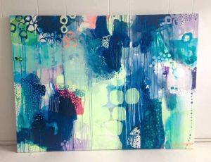 Moderne malerier i blå og grønne nuancer