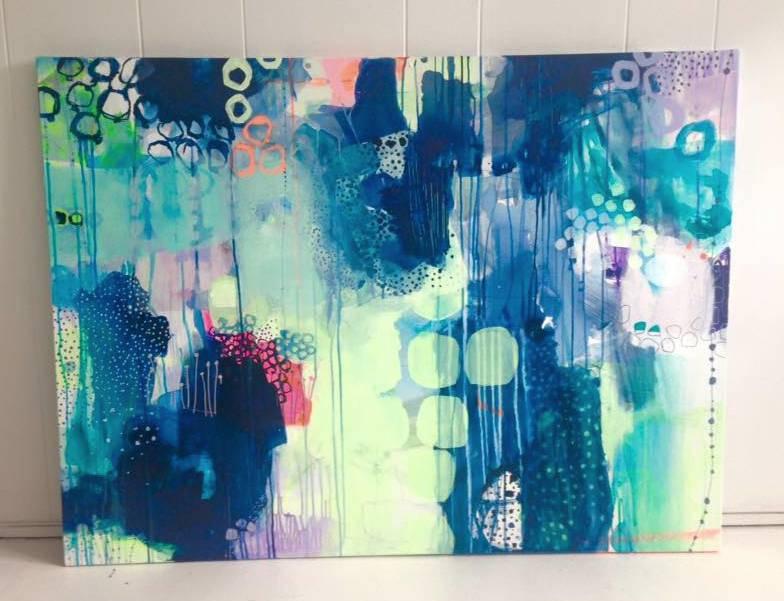 Lindberg maleri i blå og grøn