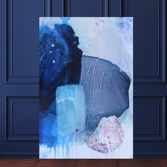 abstrakt maleri blaa