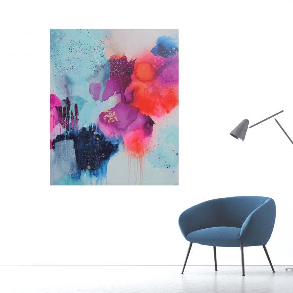 abstrakt farverigt maleri