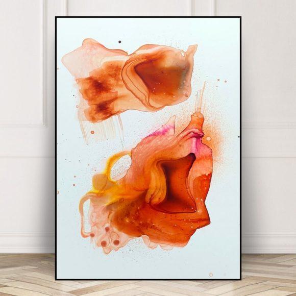 abstrakt maleri i braendte farver i sort ramme