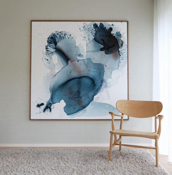 abstrakt maleri moerkeblaa