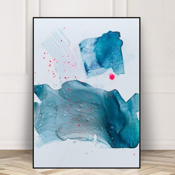 abstrakt maleri paa papir blaagroen